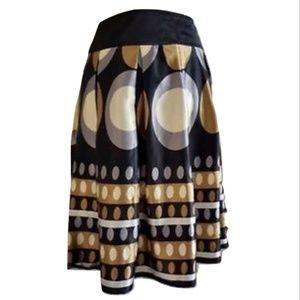 Romy Flared A-Line Skirt Gold Silver Geometric M